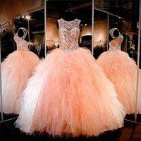 Wholesale Peach Petals - Jewel Peach Sleeves Ball Gown Crystal Beaded Hollow Floor Length Custom Made Evening DRESSES Custom Made
