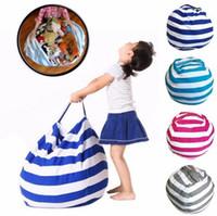 vêtements en peluche achat en gros de-Rayure De Stockage Bean Bag Portable Enfants Peluche Animal Jouet Globular Storage Pouch Tapis De Jeu Vêtements Organisateur Outil 4 Couleurs 60pcs OOA4228