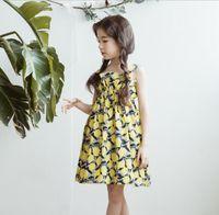 Wholesale boat coolers - 2018 New Korea style girl tank dress sleeveless flower print dress charming summer cool long dress 110-160cm