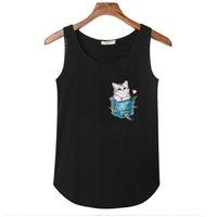 ingrosso camicie di cotone sleeveless delle signore-Summer Fake Pocket Cute Cat Stampa Top Shirt Donna Canotte Ladies Bamboo Cotton Elasticity Maglietta senza maniche Slim Tees Vest