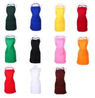 renkli önlükler toptan satış-Çok Renkli Moda Lady Kadınlar Katı Renk Önlük Ev Ev Mutfak Şef Kasap Restoran Pişirme Pişirme Elbise