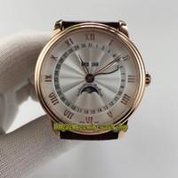 ingrosso orologi da polso in pelle bianca-4 colori High Qualit VILLERET 6263-3642-55B Moon Phase quadrante bianco Giappone Miyota Mens Automatic Watch cinturino in pelle oro rosa da uomo