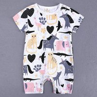 Wholesale summer body suit baby boy - Summer New Style Short Sleeved Girls Jumpsuit Baby Romper Cotton Newborn Body Suit Baby Pajama Boys Animal Rompers