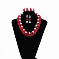 conjunto nigeriano de boda de coral al por mayor-Fashion Purple Nigerian Beads Conjuntos de joyería nupcial Beads africanos boda Dubai collar conjunto de joyas envío gratis