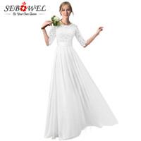 b442502d341 Оптовая длинные белые платья летние женщины элегантный цветочные кружева шифоновое  платье длиной до пола плиссированные женщин половина рукав партии макси ...