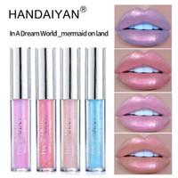 Wholesale lip tints resale online - HANDAIYAN Colors glow glitter shimmer Mermaid Lipgloss Lip Tint Moisturizing waterproof metal Long Lasting liquid Lip Gloss Lip Balm