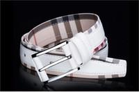 натуральная кожа из натуральной кожи оптовых-Новый стиль роскошные натуральная кожа ремень для мужчин и женщин мода гладкая / пряжка плед ремень дизайнер ремень высокое качество коровьей джинсы ремень