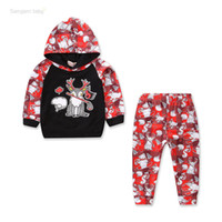 Wholesale boys designer clothes for sale - Baby Christmas Hooded Suit Ins Boy Girl Elk Designer Clothes Splicing Skateboard Bear Ski Printed Long Sleeve Plaid Patchwork Sweater Pants