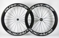 ingrosso asso leggero-Spedizione gratuita 60mm profondità strada ACE Bike ruote in carbonio 700C 25mm larghezza copertoncino / Tubolare full carbon fibra Urltra-Light aero wheelset della bicicletta