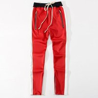 neue rote böden großhandel-2018 New bottoms side zipper hose hip hop Fashion urbane kleidung justin bieber FOG Joining jogger pants Schwarz rot blau