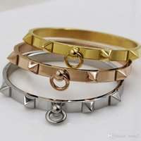 Wholesale Spike Gold Rings - Foreign trade hot punk wind lady fashion narrow version of rivets spike ring straight buckle bracelet titanium steel jewelry wholesale