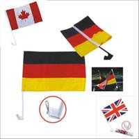 Wholesale Football Handle - DHL 2018 Russia world cup car flag 32 national team car football soccer window flag 30*45cm with a clip with handle