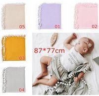 ingrosso sfondo per i bambini-Baby Pom Pom Blanket Bambini Fondali fotografia a tinta unita Morbido cotone nappa puntelli foto Robes 5 colori
