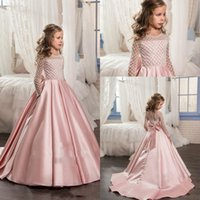 Wholesale Beaded Dresses For Weddings - Long Sleeve Crystal Flower Girls Dresses For Weddings Ball Gown Beaded Sequins Sweep Train Cheap Pink blush Girl Communion birthday Dress