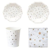 Wholesale cup cake favors for sale - Group buy Disposable Paper Dinnerware Foil Silver Star Plates Cups Napkin Cake Dish Baby Shower Favors Birthday Wedding Party Supplies Decoration