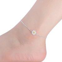 knöchel armbänder für frauen großhandel-JL014 Luxus Silber Kette Fußkettchen Daisy Gelbe Blume Fußkettchen Süße Kette Fuß Schmuck für Frauen