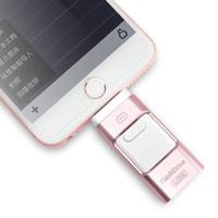 iphone usb flash drive venda por atacado-32GB iPhone Flash Drive USB, iOS Memory Stick, Expansão de armazenamento externo para iPad iOS PC Android Laptops 3-em-1 disco U celular