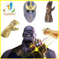 Wholesale Action Figure Weapons - Avengers 3 Infinity War Thanos Weapon Infinity Gloves action figures Gem Silicone Headgear Mask Halloween Carnival Cosplay Dress up Props