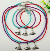 Wholesale dark purple necklace set for sale - Group buy Hot Sale Set Alloy Ancient Silver Motorboat Charm Pendant Multicolor Braided Rope Necklace Bracelet Set Women Men Jewelry Holiday Gift