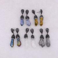 mexikanische ohrringe großhandel-5 Paar Rohe Naturstein Tropfen Ohrring Freiform Form Weiß Schwarz Farbe Baumeln Ohrringe Edelsteine Mexican Frauen Schmuck
