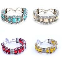 ingrosso braccialetti popolari delle ragazze-Bracciale di donne di stile Boemia popolare bracciale ciondolo in cristallo braccialetto di perline braccialetto turchese per ragazza bel regalo 4 colori T2C339