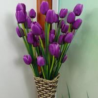 tulipas roxas artificiais venda por atacado-10 pcs PU Roxo Tulipa Calla Artificial Flor Bouquet Real Toque Flores Do Casamento Da Noiva Bouquet para Casa Decoração Do Partido Flores