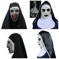 Wholesale cosplay women costumes online - The Nun Cosplay Mask Costume Latex Prop Helmet Valak Halloween Scary Horror Conjuring Scary Toys Party Costume Props FFA970