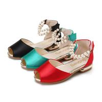 обувь для жемчуга оптовых-элегантная девушка сандалии обувь благородный жемчуг принцесса сандалии для 3-13years девушки мода партия производительность танцевальная обувь сандалии