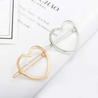 Wholesale hair cut clips - Hair Clip Clamps Girls  Ladies Dainty Gold Silver Cut Out Heart Shape Geometric Metal Hairpin Hair Clip