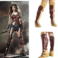 Wholesale wonder woman cosplay costume for sale - Wonder Woman Fashion Long Boots Movie Cosplay Props Women Shoes Halloween Festival Party Female PU Leather Boot Shoes
