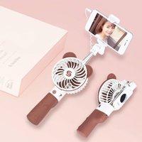 self portre selfie el çubuğu toptan satış-2 Hızları ile Açık Kablolu Özçekim Sopa Şarj Edilebilir El Mini Fan Soğutucu Banka USB Fan Seyahat Öz Portre taşınabilir Yaratıcılık Fan
