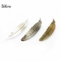 Wholesale indian feathers clip for sale - Group buy BoYuTe Pieces MM Big Feather Hair Clip Colors Plated Women Hairpin
