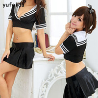 Wholesale sexy japanese women cosplay for sale - YUFEIDA Women Sexy Student Uniforms Cosplay Costume School Girl Japanese Temptation Mini Dress Fashion Vintage Sexy Lingeries