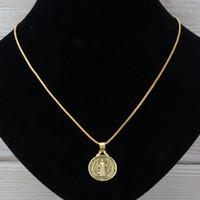 ingrosso ciondolo antico-MIC 20pcs / lot oro antico San Benedetto medaglia Charms religioso collane del pendente 24 pollici catene