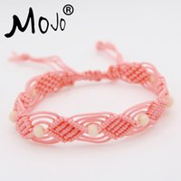 Wholesale new crystal bracelet designs resale online - Fashion Womens Pink Rope Light Yellow Crystal Beads Bracelets New Design Handmade Bracelets Jewelry set