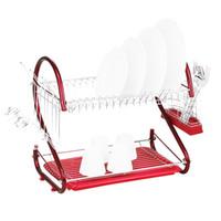 sıcak bardak rengi toptan satış-Sıcak demir 2 Katlı Mutfak Bulaşık Kupası Kurutma Rafı Süzgeç (Renk: Kırmızı) ücretsiz kargo