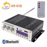 usb mp3 amplificador player carro venda por atacado-HY-V10 20 W x 2 HI-FI Bluetooth Car Amplificador de Potência de 2 canais FM Radio Player Suporte SD / USB / DVD / Entrada MP3 HYV10