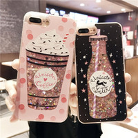Wholesale case iphone drink - Charm Drink Bottle Dynamic Glitter Quicksand Phone Case Shockproof Cellphone Cases for IPhone X 8 8plus 6 6s 6plus 6splus 7 7plus