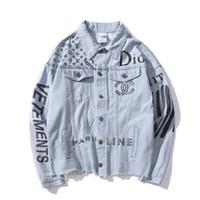 джинсовый ковбой оптовых-Горячие продажи осень любовник джинсовая повседневная черный синий куртка топы мужские письма печати старый уличная Ковбой куртка размеры M-2XL