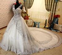 vestido de noiva de corset puro venda por atacado-New Luxury Cristal Vestidos De Casamento Lace V Neck Sheer Strap Lace-up Espartilho Vestidos De Noiva Catedral Trem