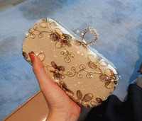 Wholesale bridal party clutch flower resale online - Female Bag New Arrival Vintage Flowers Gold Bridal Hand Bags High Quality Embroidery Handmade Bag Match Evening Dress Clutches
