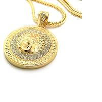 ingrosso donne nere di diamanti-Medusa AAA + pendente collana bracciale in oro nero placcato pistola lega diamante gioielli moda per donna Uomo Collana Hip Hop