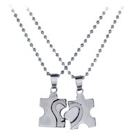 Wholesale Cute Christmas Couples Gifts - whole sale2 Pcs pair Cute Full Hearts Puzzle Pendant Necklace For Lover New Couple Jewelry Stainless Steel