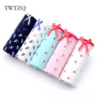Wholesale Cute Sexy Girls Bikini - TWTZQ 5Pcs Lot Women Panties Sexy Cotton Underwear Horse Strawberry Printed Cute Briefs Breathable Panties Girl Lingerie 2NK075
