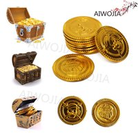 Wholesale Toys Pirate Caribbean - Wholesale-50pc plastic pirate gold coin Caribbean pirate props toys children's toys counterfeit money Halloween party supplies 6ZHH204