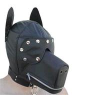 mascarillas de cuero al por mayor-Mascarada máscara de cuero Gimp perro perrito capucha máscara completa boca mordaza traje máscara del partido con cremallera Muzzel cosplay C159