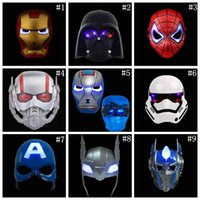 Wholesale children costume spiderman wholesale - LED Glowing Lighting Mask Spiderman Captain America Hero Figure Party Mask Halloween Cosplay Costume Accessory 9 Colors OOA4798