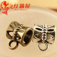 ingrosso perline d'argento 8mm-A3784 10 * 8MM bronzo antico grande buco sciolto perline accessori appesi all'ingrosso fai da te, argento tibetano ciondoli pendenti gancio fascette