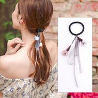 корейская лента лука оптовых-Ribbon Bow Hair Bands Rope Scrunchies Ponytail Holder Gum For Hair Accessories Elastic Women Rubber Band Tiara Korean Headdress