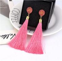 Wholesale threading earrings for sale - Group buy Tassel Dangle Earrings Long Exaggerated Rose Flower Dangle Earrings Cotton Thread Multi Color Fringe Thread Drop Dangle Earrings